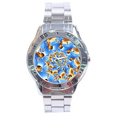 Gold Blue Bubbles Spiral Stainless Steel Analogue Watch by designworld65