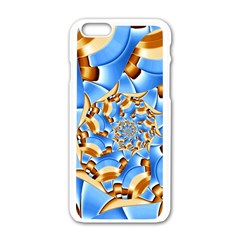 Gold Blue Bubbles Spiral Apple Iphone 6/6s White Enamel Case by designworld65