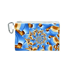 Gold Blue Bubbles Spiral Canvas Cosmetic Bag (s) by designworld65
