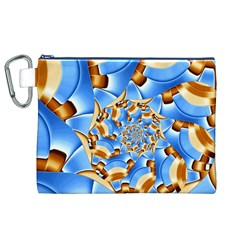 Gold Blue Bubbles Spiral Canvas Cosmetic Bag (xl) by designworld65