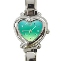 Sealife Green Gradient Heart Italian Charm Watch by designworld65