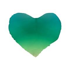 Sealife Green Gradient Standard 16  Premium Flano Heart Shape Cushions by designworld65