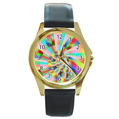 Irritation Funny Crazy Stripes Spiral Round Gold Metal Watch by designworld65