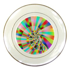Irritation Funny Crazy Stripes Spiral Porcelain Plates by designworld65