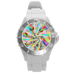 Irritation Funny Crazy Stripes Spiral Round Plastic Sport Watch (l) by designworld65