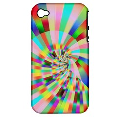 Irritation Funny Crazy Stripes Spiral Apple Iphone 4/4s Hardshell Case (pc+silicone) by designworld65