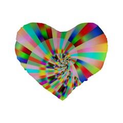 Irritation Funny Crazy Stripes Spiral Standard 16  Premium Heart Shape Cushions by designworld65