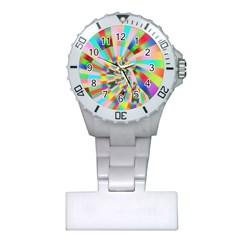 Irritation Funny Crazy Stripes Spiral Plastic Nurses Watch by designworld65