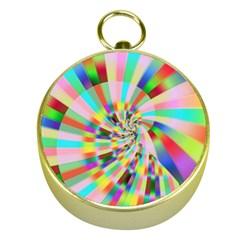 Irritation Funny Crazy Stripes Spiral Gold Compasses by designworld65