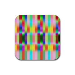 Multicolored Irritation Stripes Rubber Square Coaster (4 Pack)  by designworld65