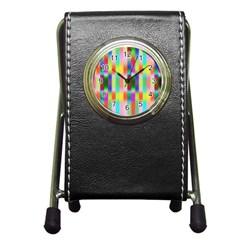 Multicolored Irritation Stripes Pen Holder Desk Clocks by designworld65