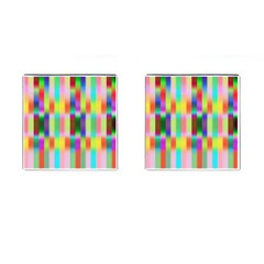 Multicolored Irritation Stripes Cufflinks (square) by designworld65