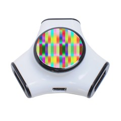 Multicolored Irritation Stripes 3 Port Usb Hub by designworld65