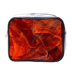 Swirly Love In Deep Red Mini Toiletries Bags by designworld65