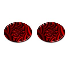 Metallic Red Rose Cufflinks (oval) by designworld65
