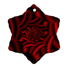 Metallic Red Rose Snowflake Ornament (two Sides) by designworld65