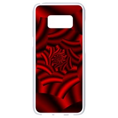 Metallic Red Rose Samsung Galaxy S8 White Seamless Case by designworld65