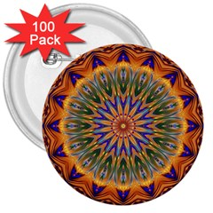 Powerful Mandala 3  Buttons (100 Pack)  by designworld65