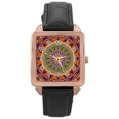 Powerful Mandala Rose Gold Leather Watch  by designworld65