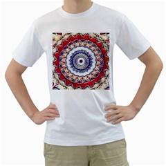 Romantic Dreams Mandala Men s T Shirt (white) (two Sided) by designworld65