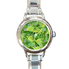 Green Springtime Leafs Round Italian Charm Watch by designworld65