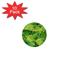Green Springtime Leafs 1  Mini Buttons (10 Pack)  by designworld65