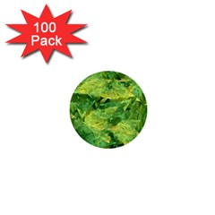 Green Springtime Leafs 1  Mini Buttons (100 Pack)  by designworld65