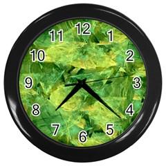 Green Springtime Leafs Wall Clocks (black) by designworld65