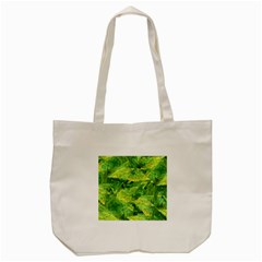 Green Springtime Leafs Tote Bag (cream) by designworld65