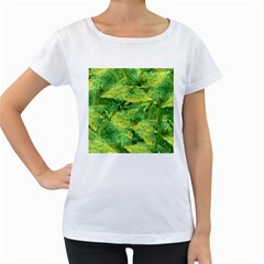 Green Springtime Leafs Women s Loose Fit T Shirt (white) by designworld65