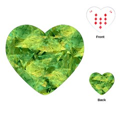 Green Springtime Leafs Playing Cards (heart)  by designworld65