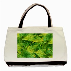 Green Springtime Leafs Basic Tote Bag by designworld65