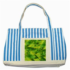 Green Springtime Leafs Striped Blue Tote Bag by designworld65