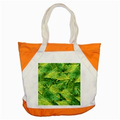 Green Springtime Leafs Accent Tote Bag by designworld65