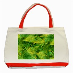 Green Springtime Leafs Classic Tote Bag (red) by designworld65