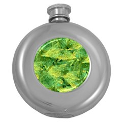 Green Springtime Leafs Round Hip Flask (5 Oz) by designworld65