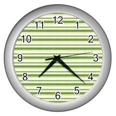 Spring Stripes Wall Clocks (silver)  by designworld65