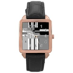 Black And White Endless Window Rose Gold Leather Watch  by designworld65
