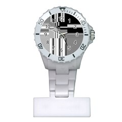 Black And White Endless Window Plastic Nurses Watch by designworld65