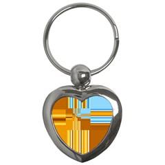 Endless Window Blue Gold Key Chains (heart)  by designworld65