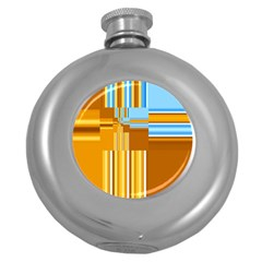 Endless Window Blue Gold Round Hip Flask (5 Oz) by designworld65