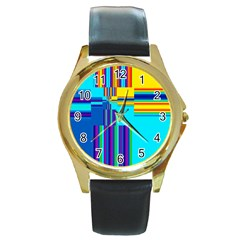 Colorful Endless Window Round Gold Metal Watch by designworld65
