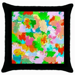 Colorful Summer Splash Throw Pillow Case (black) by designworld65
