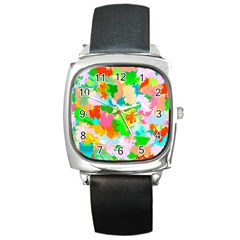 Colorful Summer Splash Square Metal Watch by designworld65