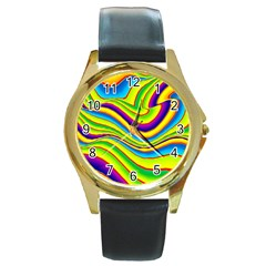 Summer Wave Colors Round Gold Metal Watch by designworld65