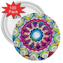 Sunshine Feeling Mandala 3  Buttons (100 Pack)  by designworld65