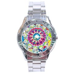 Sunshine Feeling Mandala Stainless Steel Analogue Watch by designworld65