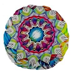 Sunshine Feeling Mandala Large 18  Premium Flano Round Cushions by designworld65