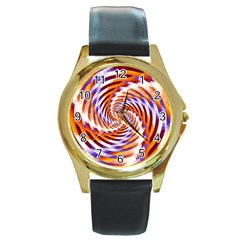 Woven Colorful Waves Round Gold Metal Watch by designworld65