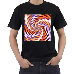Woven Colorful Waves Men s T Shirt (black) (two Sided) by designworld65